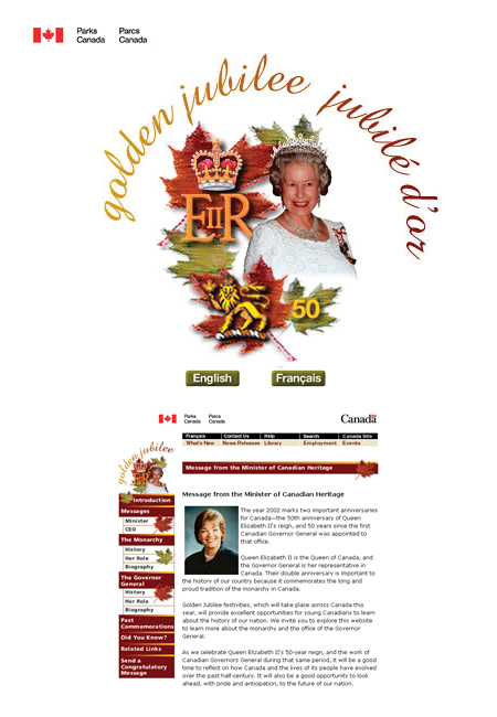 Customer: Parks Canada. Design of Web module for Canada's Celebration of the Queen's Golden Jubilee [June 3, 2002]